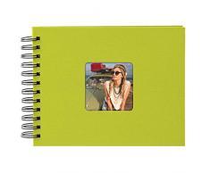 Goldbuch Spiralalbum mit Bildausschnitt, Living, 24x17 cm, 50 schwarze Seiten, Hochwertiger Einband aus Strukturpapier in Leinenoptik, Grün, 20 196
