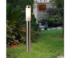 Wegeleuchte Silber Edelstahl 80cm hoch Ø6cm E27 IP44 LED geeignet Beleuchtung Hof Garten Weg Lampe