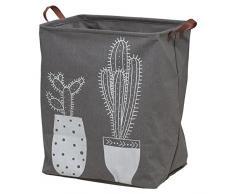 Sealskin Cactus Wäschekorb, Wäschesammler aus Stoff mit Griffen in Lederoptik, Farbe: Grau, verschließbar