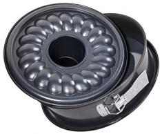 Zenker Springform Ø 26 cm DELUXE, Backform mit Emaille-Versiegeltem Flach- und Rohrboden aus Stahlblech, runde Kuchenform mit extra hohem Rand (Farbe: Schwarz metallic), Menge: 1 Stück