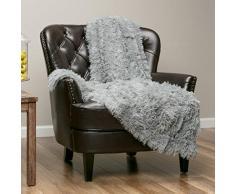Chanasya Super Weichen Langen Shaggy Fuzzy Fell Webpelz warm elegant Cozy mit Flauschiger Sherpa Chic Überwurf Decke – Farbe Shaggy Kunstpelz, Polyester, grau, 60x70 Inches