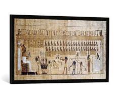 Gerahmtes Bild von Ägyptische Malerei Jenseitsgericht/Totenbuch / Papyrus, Kunstdruck im hochwertigen handgefertigten Bilder-Rahmen, 100x50 cm, Schwarz matt