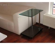 Design Beistelltisch Ecktisch Walnuss / Wenge V-270 getöntes Glas