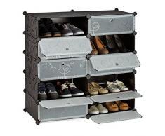 Relaxdays Schuhschrank mit 10 Fächern, Schuhregal groß, Steckregal Kunststoff, DIY, HxBxT ca. 90 x 94 x 37 cm, schwarz