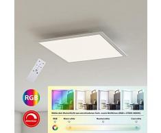 Briloner Leuchten Ultraflaches RGB CCT LED Panel, Deckenleuchte quadratisch (29.5 x 29.5cm), Weiß, Farbtemperatursteuerung (3.000-6.500 Kelvin), Dimmbar, 1.800 Lumen Lichtleistung, Kunststoff