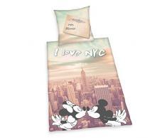 Herding 4478203039 Bettwäsche Mickey und Minnie New York, Kopfkissenbezug 80 x 80 cm plus Bettbezug 155 x 220 cm, 100 % Baumwolle, Renforce, Übergröße