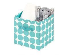 iDesign Stoffbox, kleine faltbare Aufbewahrungsbox aus Baumwoll-Polyester-Mischung mit 2 Griffen, gepunktete Ordnungsbox für Schrank, Schlafzimmer und Kinderzimmer, türkis