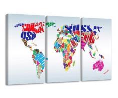 Visario Leinwandbilder 1163 Bild auf Leinwand Weltkarte fertig gerahmt, 3 Teile, 160 cm