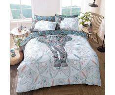 Sleepdown Elephant Mandala Bettwäsche-Set für Doppelbetten, Baumwolle, blaugrün