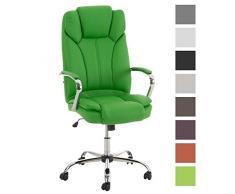 TPFLiving Premium XXL Bürostuhl Chefsessel Schreibtischstuhl DALLAS grün belastbar bis 215 kg hochwertig bequem Kunstleder Fixier- und Wippfunktion stabile Castor Rollen in 8 Farben wählbar