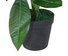 Leaf Design UK Künstlicher Blumentopf aus Kunststoff, 50 cm, Schwarz, 50cm Money Tree Plant
