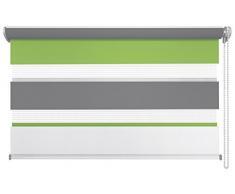 mydeco® Duo-Rollo Fensterrollo Klemmfix ohne Bohren, Farbe Triple: Weiß, Grün, Grau 140 x 160 cm Seitenzugrollo Doppelrollo inkl. Klemmträger
