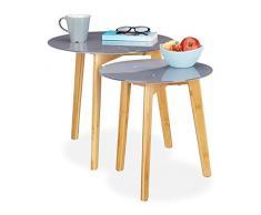 Relaxdays 2er Set Beistelltisch, Bambus Beine, Glas Tischplatte, dekoratives Muster, Satztische, 40 & 50cm Ø, grau/Natur, 45 x 50 x 50 cm