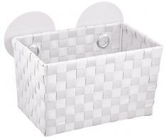 WENKO 20383100 Static-Loc Aufbewahrungskorb Fermo White - Badkorb, Befestigen ohne bohren, Kunststoff - Polypropylen, 20.5 x 14.5 x 14 cm, Weiß