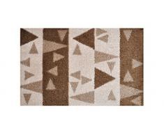 LifeStyle-Mat 100178 Dreieck, rutschfeste und waschbare Fußmatte, ideal für den Eingang, die Garderobe oder Küche, 40 x 60 cm, braun / beige