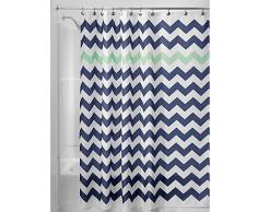 InterDesign Chevron Duschvorhang Textil | pflegeleichter Duschvorhang aus Stoff mit verstärkten Löchern | Badewannenvorhang mit Zickzack-Muster | Polyester navyblau/mint