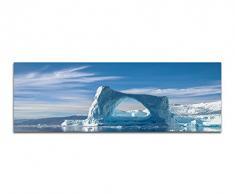 Panoramabild auf Leinwand und Keilrahmen 150x50cm Grönland Eisberge Schnee Meer