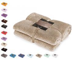 DecoKing 32169 Kuscheldecke 70x150 cm Cappuccino Decke Microfaser Wohndecke Tagesdecke Fleece weich sanft kuschelig skandinavischer Stil beige Henry