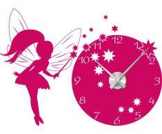 Graz Design 800393_AL_041_de Wandtattoo Uhr Wanduhr mit Uhrwerk Kinderzimmer Prinzessin Fee für Mädchen (Farbe=041 pink / Uhrwerk=Silber gebürstet )