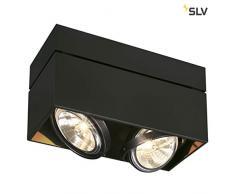 SLV Halogen Deckenlampe KARDAMOD für eine effektvolle Innenbeleuchtung | Dreh- und schwenkbare Deckenleuchte, Decken-Strahler, Spot Innenleuchte | Zweiflammig, Eckig, Schwarz, G53, max 50W, E -A++