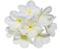 Künstliche Frangipani-Blumensträuße aus Polyurethan, fühlt sich echt an und fühlt sich echt an, als Dekoration für Hochzeit, Zuhause, Party, 10 Stück weiß
