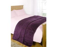 Luxus Kunstfell groß Grape Mink Fleece Überwurf über Sofa Bett Weiche Warme Decke, Purple Grape, Double - 150 x 200 cm