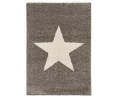benuta 4053894222993 Teppiche Shaggy Langflor Hochflor Teppich Graphic Star - gut-Siegel - 100% Polypropylen - Sterne - Maschinengewebt - Wohnzimmer Teppich, Kunstfaser, Grau, 80 x 150 x 2 cm