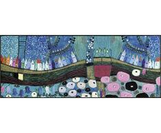 Wash + Dry Stadt in Blau Fußmatte, Acryl, 75 x 190 x 0.7 cm