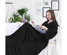 DecoKing 97298 TV-Decke 150x180 cm schwarz Microfaser Kuscheldecke mit Ärmeln und Taschen Mikrofaserdecke Fleecedecke weich sanft Füßtasche Tagesdecke Black Lazy