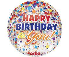 amscan Orbz Happy Birthday Konfetti Folienballon, Folie, Mehrfarbig, 5