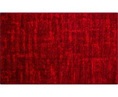 Linea Due Badteppich 100% Polyacryl, ultra soft, rutschfest, ÖKO-TEX-zertifiziert, 5 Jahre Garantie, SAVIO, Badematte 70x120 cm, rubin