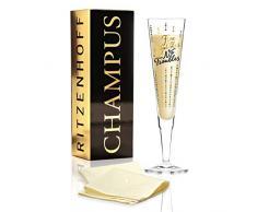 RITZENHOFF Champus Champagnerglas von Oliver Melzer, aus Kristallglas, 200 ml, mit edlen Gold- und Platinanteilen, inkl. Stoffserviette