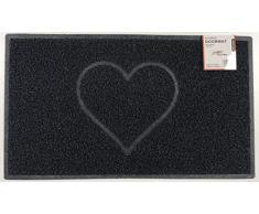 Nicoman Spaghettimatten Fußmatte für den Eingangsbereich|Robuste Schmutzfangmatte aus Vinylschlingen | Geprägt Herz【75x44cm, Mittel,Aussen】,Schwarz