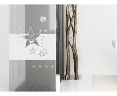 Graz Design 980136_80x57 Sichtschutzfolie Fenstertattoo Fensteraufkleber Deko für Badezimmer Seestern Sterne (Größe=80x57cm)