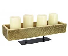 Flair Flower 706814N Tablett Schale Dekoschale Kerzenschale Pflanzbehälter Kiste auf Metallfuß aus Massiv Holz, Natur, ca. 13x45x15 cm