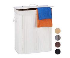 Relaxdays Wäschekorb Bambus mit Deckel, rechteckiger Wäschesammler, 2 Fächer, 95 l Volumen, faltbare Wäschebox, weiß