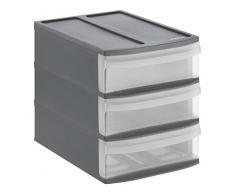 Rotho Systemix Tower aus Kunststoff, Ablagebox Grösse S, 26.5x19.2x23.3 cm, transparent/graues Ablagesystem, DIN A5 Bürobox für Schreibtisch, Büro, UVM, Hergestellt in der Schweiz Schubladenbox, Plastik, anthrazit, Small (3 Schübe)