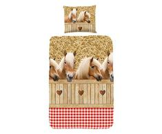 Good Morning! Kinder Bettbezug mit Pferde-Motiv, Einzelbett-Größe, 100% Baumwolle, Sand