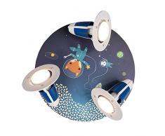Elobra Kinderlampe Little Astronauts Space Mission Deckenleuchte, Holz, blau