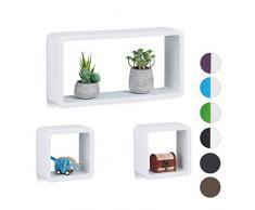 Relaxdays Cube Regal, 3er Set, Schwebend, Quadratisch, Modernes Design, Hoch- & Querformat, Kinderzimmer, MDF, Weiß