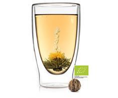 Feelino 1x 400ml XL doppelwandiges Thermoglas + 1x Bio-Teeblume aus weißem Tee mit natürlichen Blüten/doppelwandiges Thermo Glas mit Schwebe-Effekt