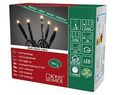 Konstsmide 6353-820 Micro LED Lichterkette / für Innen (IP20) / VDE geprüft / 24V Innentrafo / 50 bernsteinfarbene Dioden / schwarzes Kabel