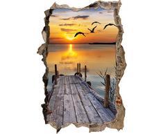 Pixxprint 3D_WD_S2521_62x42 kleiner Steg mit bezauberndem Sonnenuntergang Wanddurchbruch 3D Wandtattoo, Vinyl, bunt, 62 x 42 x 0,02 cm