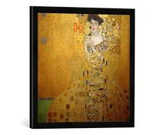 Gerahmtes Bild von Gustav Klimt Bildnis Adele Bloch-Bauer I, Kunstdruck im hochwertigen handgefertigten Bilder-Rahmen, 50x50 cm, Schwarz matt