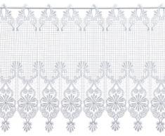 Plauener Spitze by Modespitze, Store Bistro Gardine Scheibengardine mit Stangendurchzug, hochwertige Stickerei, Höhe 45 cm, Breite 144 cm, Weiß