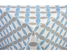 Tischdecke Lunar blau Tischtuch Tischwäsche Wachstuch pflegeleicht wasserabweisend Oval 140 x 200 cm, PVC-Polyester, 55026, Venilia