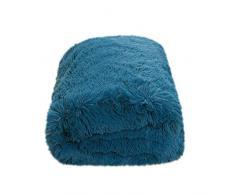 CaliTime Überwurf für Couch, Sofa, Bett, superweich, elegant, kuschelig, warm, Kunstfell, einfarbig, 152 x 203 cm Throw 60 X 80 Inches tiefseeblau
