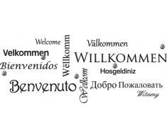 Graz Design 970035_45_070 Wandtattoo Garderobe mit 5 Haken Flur Willkommen in verschiedenen Sprachen