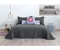 SECANETA Stilia Tagesdecke, wendbar, zweifarbig, Ultrasonic 3D-Effekt, für Frühling Sommer, Anthrazit/Perle, 235 x 270 cm / 135 cm Bett, 235 x 270 cm