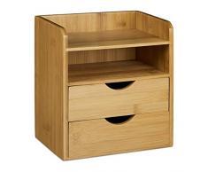 Relaxdays Schreibtisch-Organizer HBT: 21x20x13cm Ablagesystem aus Bambus für den Schreibtisch Organizer mit 2 Ablagen und 2 herausnehmbaren Schubladen Aufbewahrungsbox als Briefablage fürs Büro, natur